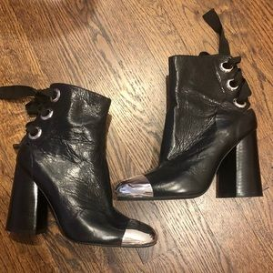 Jeffrey Campbell lux shiny metal pointy booties
